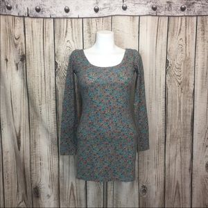 Billabong Gray Floral Body Con Dress Size Small